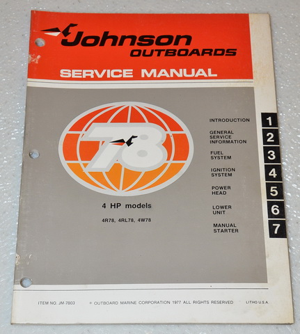 1978 Johnson 4hp Outboard Factory Service Manual