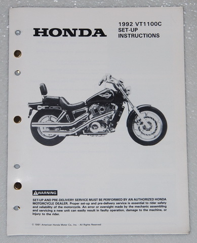 1992 Honda VT1100C Original Set-Up Instructions