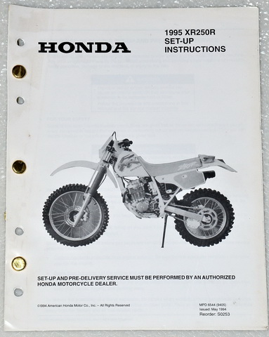 1995 Honda XR250R Official Original Set-Up Instructions