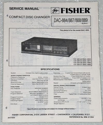 Fisher Compact Disc Changer Original Factory Service Manual