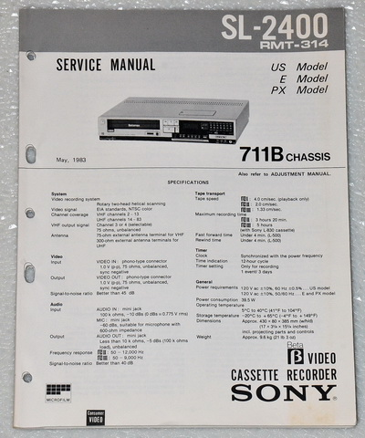 Sony SL-2405 Beta Max VCR Original Factory Service Manual
