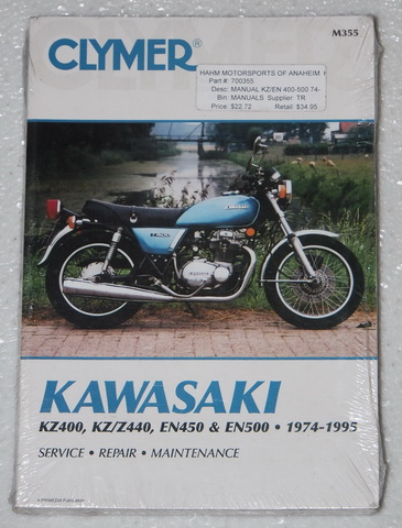 1974 1995 kawasaki kz 400 kz440 z400 z 440 en450 en500 clymer shop repair manual ebay. Black Bedroom Furniture Sets. Home Design Ideas