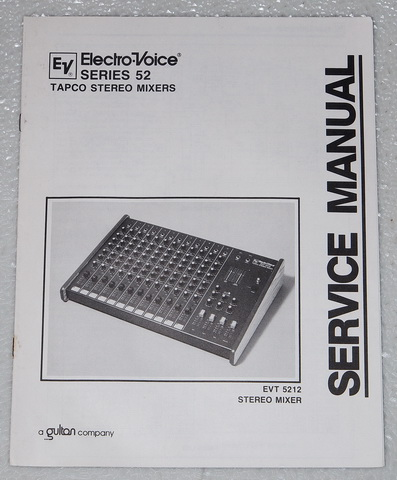 Electro-Voice EVT 5212 Stereo Mixer Original Factory Service Manual