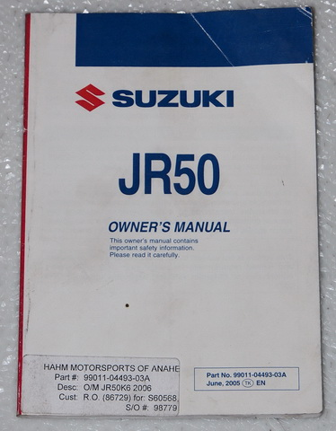2006 Suzuki JR50 Original Owners Manual