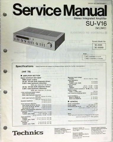 Technics SU-V16 Stereo Integrated Amplifier Service Repair Manual & Parts  List