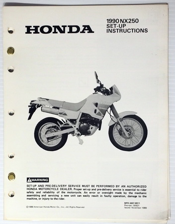1990 NX250 Set Up Instructions Assembly Manual NX 250
