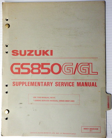 1983 Suzuki GS850 Service Manual Supplement GS850G GS850GL GS850GD on