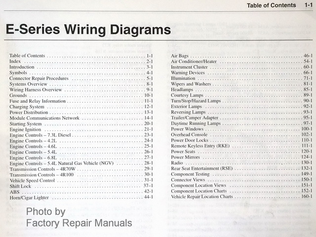 02 e series ewd toc sm 2003 ford econoline van & club wagon wiring diagram manual 2003 Ford Explorer Wiring Diagram at bakdesigns.co