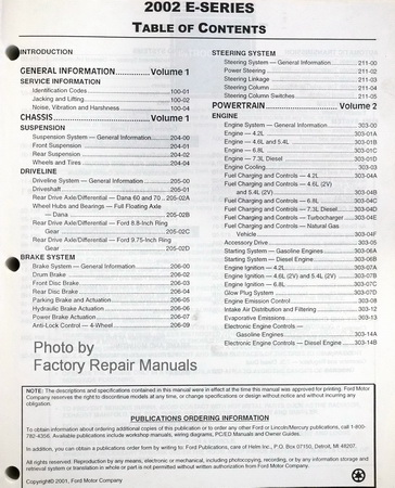 2002 Ford E-Series Factory Service Manual Table of Contents Page 1