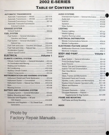2002 Ford E-Series Factory Service Manual Table of Contents Page 2