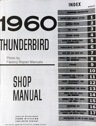 1960 Ford Thunderbird Factory Shop Manual Table of Contents