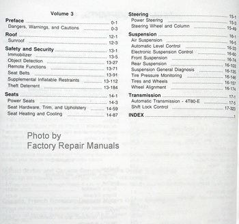 2010 Cadillac DTS Service Manual Table of Contents Page 2