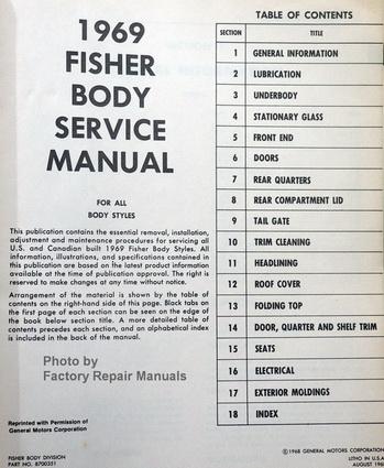 1969 buick cadillac chevrolet oldsmobile pontiac fisher body service rh factoryrepairmanuals com 1970 fisher body service manual pdf 1973 fisher body service manual