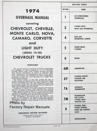 1974 Chevrolet Car and Light Duty Truck Overhaul Manual Table of Contents