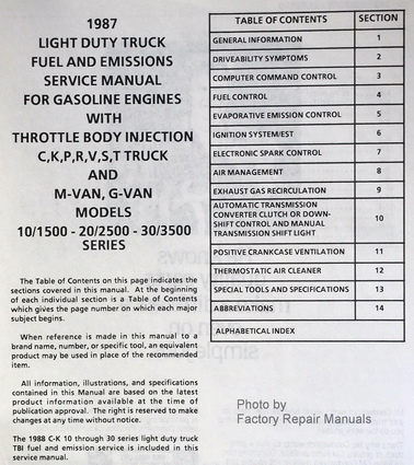 1987 Chevrolet Light Duty Truck Fuel, Driveability and Emissions Table of Contents