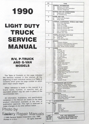 1990 Chevrolet Truck R/V, G, P Models Factory Service Manual Table of Contents