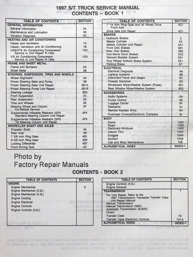 1997 Chevy S10, GMC S15, Oldsmobile Bravada Factory Service Manuals Table of Contents Page 1