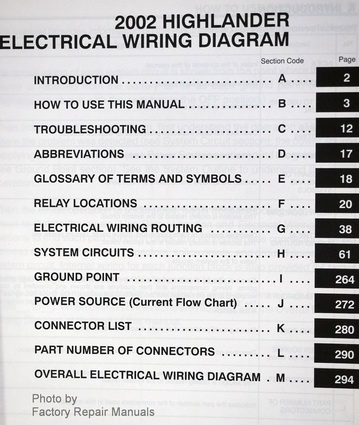2002 toyota highlander electrical wiring diagrams original factory 2002 toyota highlander electrical wiring diagrams table of contents