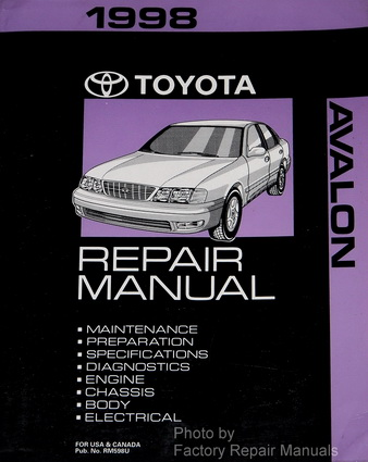 1998 toyota avalon factory service manual original shop repair rh factoryrepairmanuals com 1998 toyota avalon service manual 1998 toyota avalon manual pdf