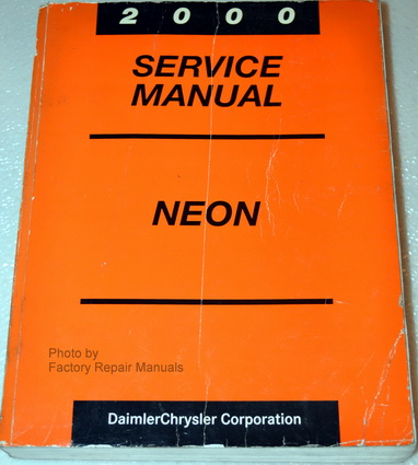 2000 Dodge Plymouth Neon Factory Service Manual – Original #0: 00 neon sm