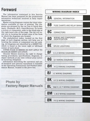 1988 Chrysler Front Wheel Drive Car Wiring Diagrams Table of Contents