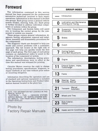 1989 Chrysler Front Wheel Drive Car Factory Service Manual Table of Contents