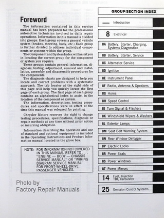 1988 Chrysler Front Wheel Drive Car Factory Fuel & Emissions Manual Table of Contents
